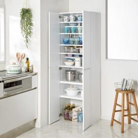 食器からストックまで入る!大容量キッチンパントリー収納庫 幅60奥行40cmブラウン