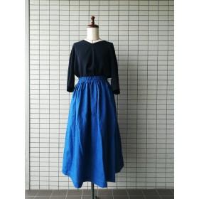 大変上品なブルーカラーのリネンスカート 【サイズ直しお受けいたします】