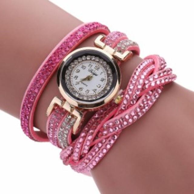 DUOYA高級ブレスレット時計女性高級クリスタルクォーツ腕時計ラインストーン時計レロジオfemininos hombr Pink