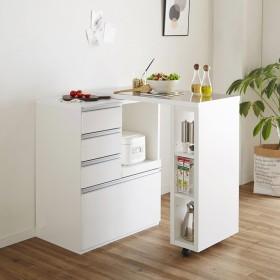 簡単に幅調節可能!スライド伸長式カウンター幅91〜126cm 家電タイプホワイト