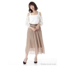 Lilou de chouchou(リルデシュシュ)無地ベルト付プリーツロングスカート