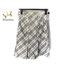 バーバリーブルーレーベル スカート サイズ38 M レディース ネイビー×白 チェック柄 新着 20190817