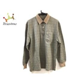 ダックス DAKS 長袖ポロシャツ サイズL メンズ 美品 ブラウン×黒×マルチ チェック柄 新着 20190817