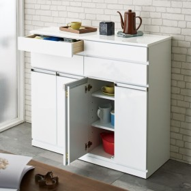 光沢仕上げ腰高カウンター収納シリーズ キッチン収納庫 幅109.5cmホワイト