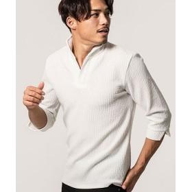 シルバーバレット CavariAジャガードストライプイタリアンカラー7分袖ポロシャツ メンズ ホワイト 44(M) 【SILVER BULLET】