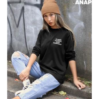 【セール開催中】ANAP(アナップ)英字プリントロングTシャツ