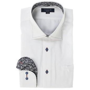 【TAKA-Q:トップス】形態安定スリムフィット ワイドカラーダブルステッチ長袖ビジネスドレスシャツ/ワイシャツ
