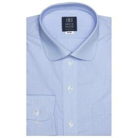 [マルイ] 形態安定 ノーアイロン 長袖ワイシャツ ラウンド サックス×白ドット、ストライプ 標準体/ブリックハウス(BRICKHOUSE)
