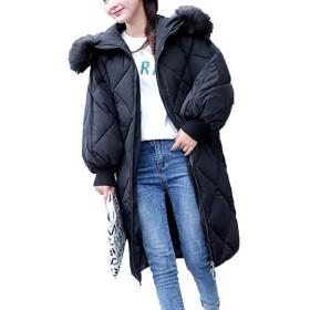 [美しいです] コート ダウンコート レディース 綿入れ 厚手コート ダウンジャケット 防寒 防風 ロングコート 冬着 ブラックM