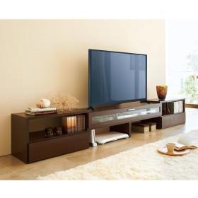すっきり、ぴったりが心地よい伸縮式テレビ台スイングローボード 扉付き幅148.5〜283cmダークブラウン