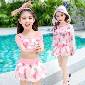 子供服 キッズ 女の子 スイミング イエロー 可愛い 3点セット アウター ピンク 水着 子供 L コート スクール セパレート 夏 XL M 2XL 海