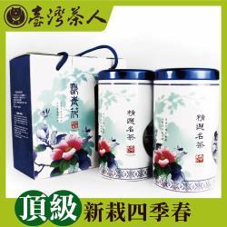台灣茶人 頂級新栽四季春茶葉禮盒(翫青花精選名茶組)