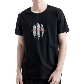 パイオニア キャンプ(Pioneer Camp) 半袖 tシャツ メンズ 夏 カットソー 羽柄 綿100% カジュアル トップス ブラック(M)