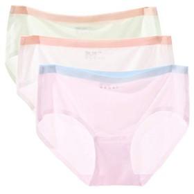 GISEII レディース ショーツ シームレス パステルカラー 普通のショーツより3倍薄い 無縫製 吸汗速乾 快適フィット 響きにくい パンツ 下着 (若芽色+ホワイト+桜色, L)