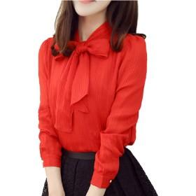 [コウサ] cousa楊柳リボンブラウス長袖シャツ 大きいサイズ無地白赤レディース オフィスフォーマルトップス (レッド(L))