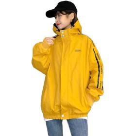 Gergeousブルゾン レディース ゆったり 韓国 ジャケット フード付き ファッション アウター ジップアップ カジュアル BF風 ジャンパー おしゃれ 原宿系 春(Rイエロー)