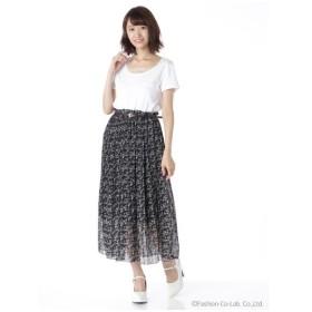 Lilou de chouchou(リルデシュシュ)花柄ベルト付プリーツロングスカート