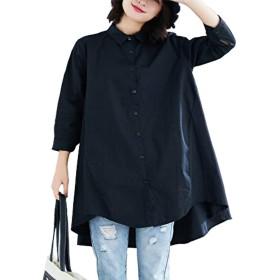 [ゾック アズ]大人ふんわりシャツ Aライン レディース 日焼け防止 ママコーデ ゆったり羽織れる ブラック L(日本サイズM)