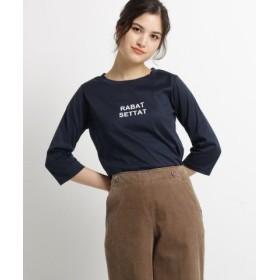 (Dessin/デッサン)【洗える Lサイズ・Sサイズあり】フロッキーロゴコットン(綿)Tシャツ/レディース ネイビー(093)
