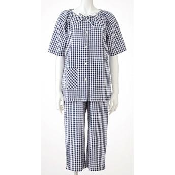 50%OFF【レディース】 スモックパジャマ(綿100%) - セシール ■カラー:ネイビーブルー ■サイズ:S