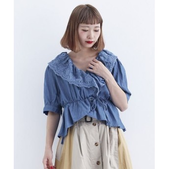 メルロー デニムパンチング刺繍ブラウス レディース ライトブルー FREE 【merlot】