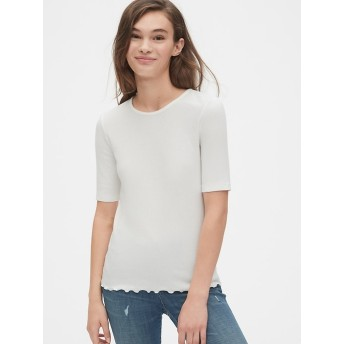 Gap フラットバック リブクルーネックTシャツ