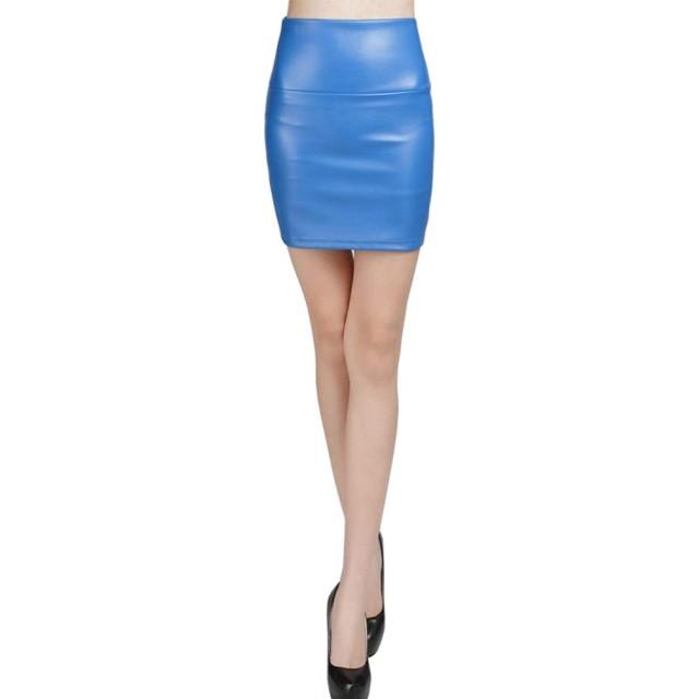 syvent レディースミニレザースカートハイウエストタイト黒レッド9色無地スカート