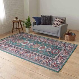 152×233cm(イタリア製ペルシャ絨毯風ヴィンテージプリントラグ〈オリエンテ〉 グリーン)グリーン