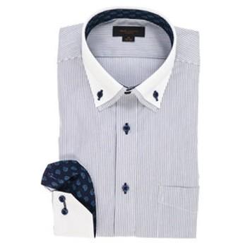 【m.f.editorial:トップス】ストレッチ形態安定スリムフィット 2枚衿ボタンダウン長袖ビジネスドレスシャツ
