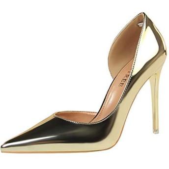 [Charm Foot] レディース ポインテッドトゥ 純色 ピンヒール パンプス[10.5cm ヒール] (22.0, ゴールド)