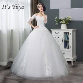 それはYiiYaのウェディングドレスファッションハーフスリーブウェディングドレスシンプルなオフ白刺繍安いウェディング White