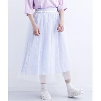 メルロー チュール付き柄スカート レディース ライトブルー FREE 【merlot】