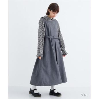 (merlot/メルロー)ウール混ベルト付きジャンパースカート2059/レディース グレー 送料無料