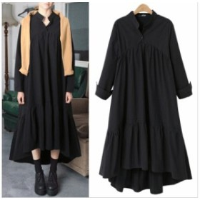 【 XL ~ 4XL 】 大きいサイズ レディース 長袖 秋 冬 ブラック ロング ドレス お出かけ パーティー カジュアル 3XL 2XL 70600