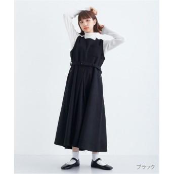 (merlot/メルロー)ウール混ベルト付きジャンパースカート2059/レディース ブラック 送料無料