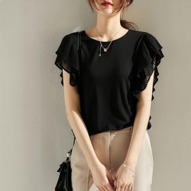 【在庫処分特価!】無地 ブラウス シャツ 韓国ファッション オシャレ レディース 半袖 可愛い トップス 夏物 オシャレ 着回し 韓国ファッション レディース