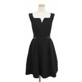 フォクシー  ダブルバックル ワンピースドレス  ブラック 38(美品)