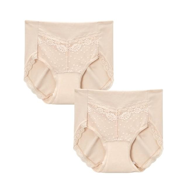 【WEB限定】吸水パッド付 ライナーいらずの綿混ストレッチセーフティショーツ2枚組 スタンダードショーツ,Panties