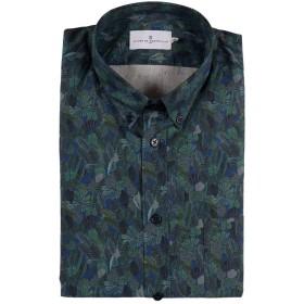 【73%OFF】リーフ柄 胸ポケット 長袖 ボタンダウンシャツ ダークネイビー/グリーン s