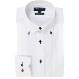 【TAKA-Q:トップス】形態安定スリムフィットドゥエボットーニボタンダウン長袖ビジネスドレスシャツ