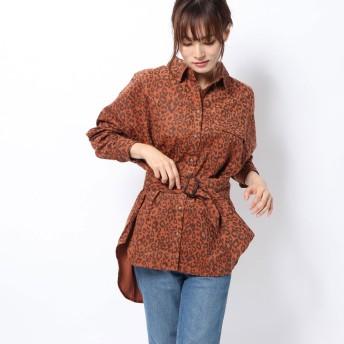 スパイラルガール SPIRAL GIRL コーデュロイオーバーシャツジャケット (ヒョウ)