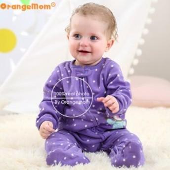 ベビー服 ソフトフリース 女の子 ロンパース 男の子 purple monkey