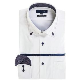 【TAKA-Q:トップス】ストレッチ形態安定スリムフィット ボタンダウン長袖ニットビジネスドレスシャツ