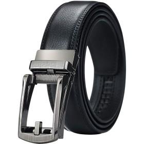 [マイクイーン]maikun ベルト メンズ ビジネス おおきいサイズ 紳士ベルト 革ベルト belt オートロック 穴なし シルバー&ブラック 120cm