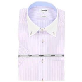 【TAKA-Q:トップス】形態安定スリムフィットドゥエボットー二ボタンダウンクレリック半袖ビジネスドレスシャツ