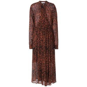 《セール開催中》CALVIN KLEIN レディース ロングワンピース&ドレス ココア 38 レーヨン 100% LEOPARD GATHERED