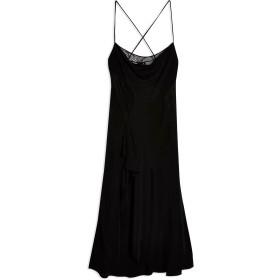 《期間限定セール開催中!》TOPSHOP レディース ロングワンピース&ドレス ブラック 6 ポリエステル 100% LACE PANEL SLIP DRESS