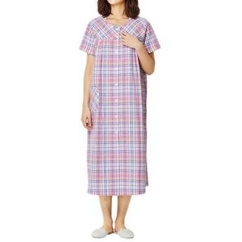 【レディース】 サラッと気持ちいい前開き半袖ネグリジェ(綿100%) - セシール ■カラー:ピンク系 ■サイズ:3L
