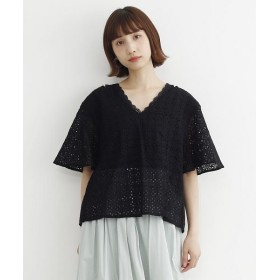 メルロー バックリボンパンチング刺繍ブラウス レディース ブラック FREE 【merlot】