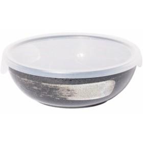 みのる陶器 大鉢 黒結晶 白刷毛 L